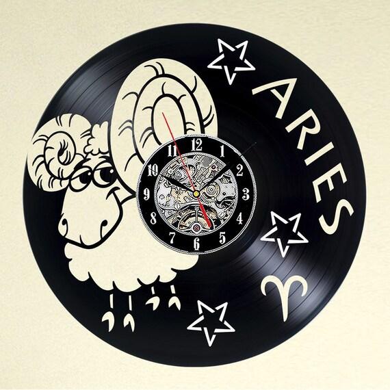 Widder Uhr Vinyl-Schallplatte Wanddeko