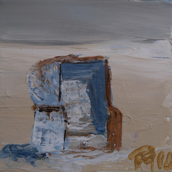 Strandkorb gemalt  Strandkorb gemalt creme weiss15x15 St-Peter-Ord.02 | Etsy