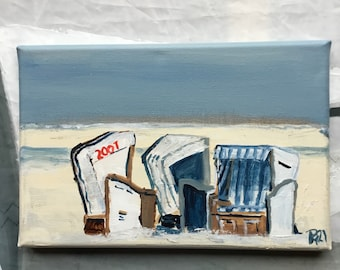 Picture white beach chairs Norderney 30 x 20 cm, seaside original hand painted, small painting