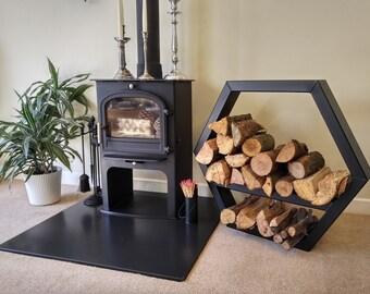 Stylish Log Storage Stand Industrial Design Bookshelf Fireplace Accessory Steel Firewood Rack Holder
