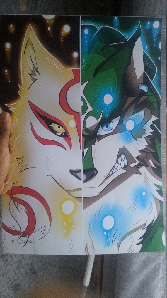 Poster A3 Fanart Link And Amaterasu Etsy