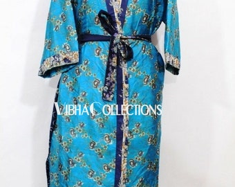Beautiful Floral Print Silk Sari Kimono Bohemian Long Kaftan Robe Womens Night Wear Robe Soft Sari Beach Kimono Handmade Art Silk Sari Gown