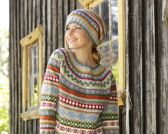 Hand knitted women's hat and jumper, nordic sweater, norwegian sweater and hat, striped jumper and hat. hand made jumper, fair isle sweater.