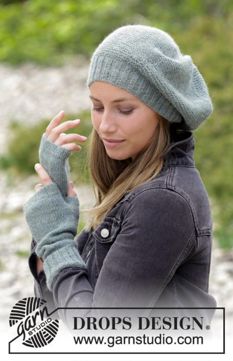 76e27e80 Hand knit women's hat and wrist warmers alpaca beret | Etsy