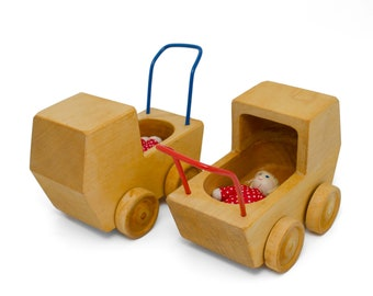 Doll carriage with baby for the big doll house made of wood