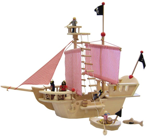 Bateau Pirate En Bois Avec De Nombreux Accessoires Etsy