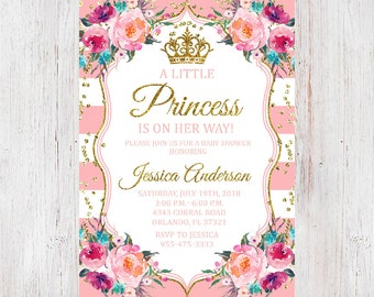 Princess baby shower invitations etsy couples baby shower invitation girl princess baby shower invitation babyshower invites coed baby shower girl pink and gold glitter 51 filmwisefo
