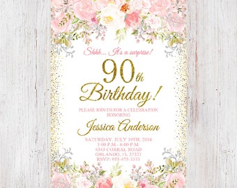 90th Birthday Invitation Women Floral Flowers 4