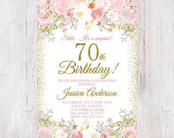 70th Birthday Invitation Women Floral Flowers 4