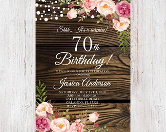 70th Birthday Invitation Floral Women Wood Rustic InviteSurprise 3
