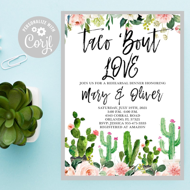 Editable Taco rehearsal dinner Invitation,Southwestern Shower,Taco Tuesday Couples shower Taco Bridal Shower Template 66 Taco Bout Love
