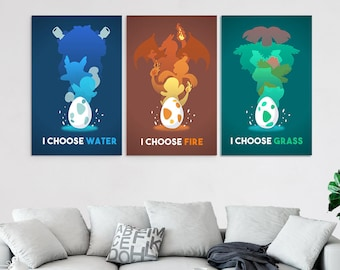 3 piece canvas art oversized pokemon piece canvas wall art video game prints set multi panel gaming decor poster painting artwork decal piece canvas art etsy