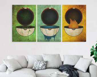 3 piece canvas art contemporary pokemon piece canvas wall art starter pokeballs prints set multi panel balls decor poster painting artwork decal piece canvas art etsy