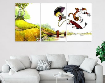 3 piece canvas paintings beach calvin and hobbes piece canvas wall art prints set multi panel nursery decor poster painting artwork decal piece canvas art etsy