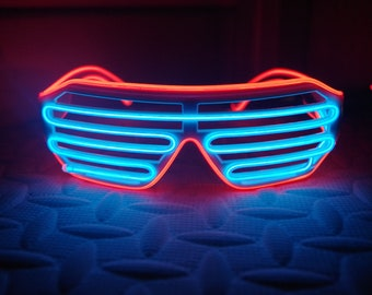 dcc165f6bef92 Illuminated Apparel Blue   Red Neon LED Light Up Glasses Glow Party