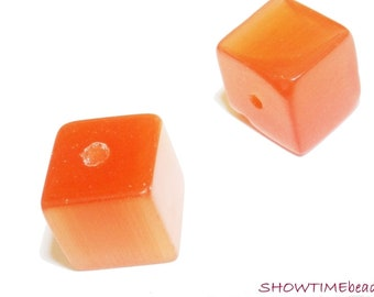 Cateye-Glasperle Würfel 10mm 10 Stück orange