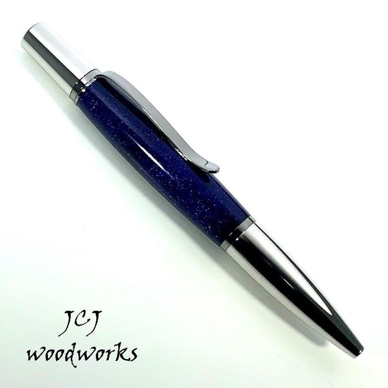 Ultra Violet DiamondCast Ballpoint Pen with Rhodium and Black Titanium Components