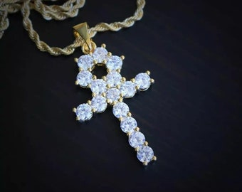 2 Inch Long Cross With Big Stones 925 Sterling Silver Customized Fully Iced  Out White CZ Designer Pendant c4bdb7a56dd4
