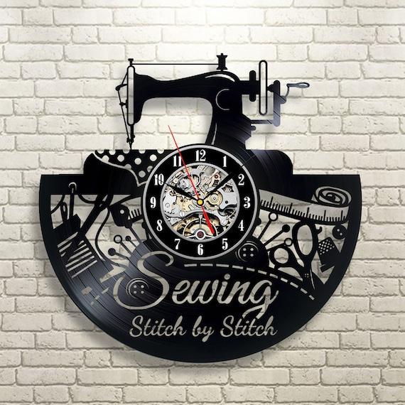 Sewing Machine Art Vinyl record Wall Clock