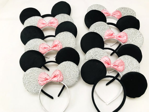 12 pcs Minnie Mouse Ears Headbands Black Pink Bows Mickey Birthday Party Favors