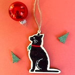 Christmas Cat Wooden Christmas Decoration