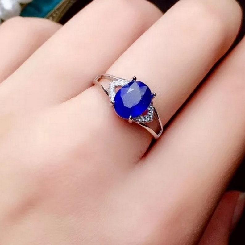 September Birthstone Blue Sapphire Men/'s Ring 925 Sterling Silver Oval Sapphire Personalized Gift for Men Handmade Natural Sapphire Ring