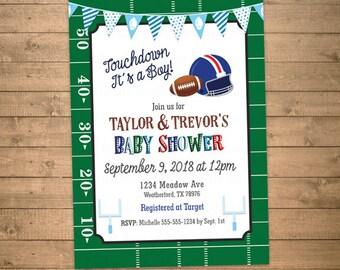 Football baby shower invitations etsy football baby shower invitation baby boy invite co ed shower blue red green white brown printable digital file jpg or pdf filmwisefo