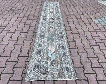 runner rug  oushak rug  vintage hallway rug  turkish rug  wool rug  hand knotted rug  turkey floor rug  2.3 x 12.2 ft.