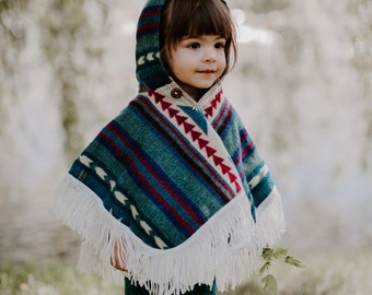 Alpaca Wool Knitted Poncho for Kids, Boho Hooded Toddler Cape with Fringe, Handmade Woven Ethnic Print Wrap, Children's Fall Clothing Gift