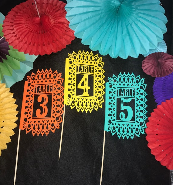 Love doves table number Ivory Table Numbers Cream Metallic ivory table numbers Mexican Love birds table numbers Papel Picado Numbers