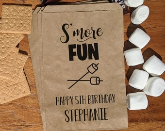 Smores Party, S'Mores Party, Camping Party, Bonfire Party,  Smores Party Favor, Smores Bag, Backyard Party, Birthday smore, Slumber party