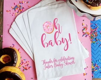 Donut bag Favor Bag || Baby Shower favor treat bag Popcorn favor bag Oh Baby Cookie bag