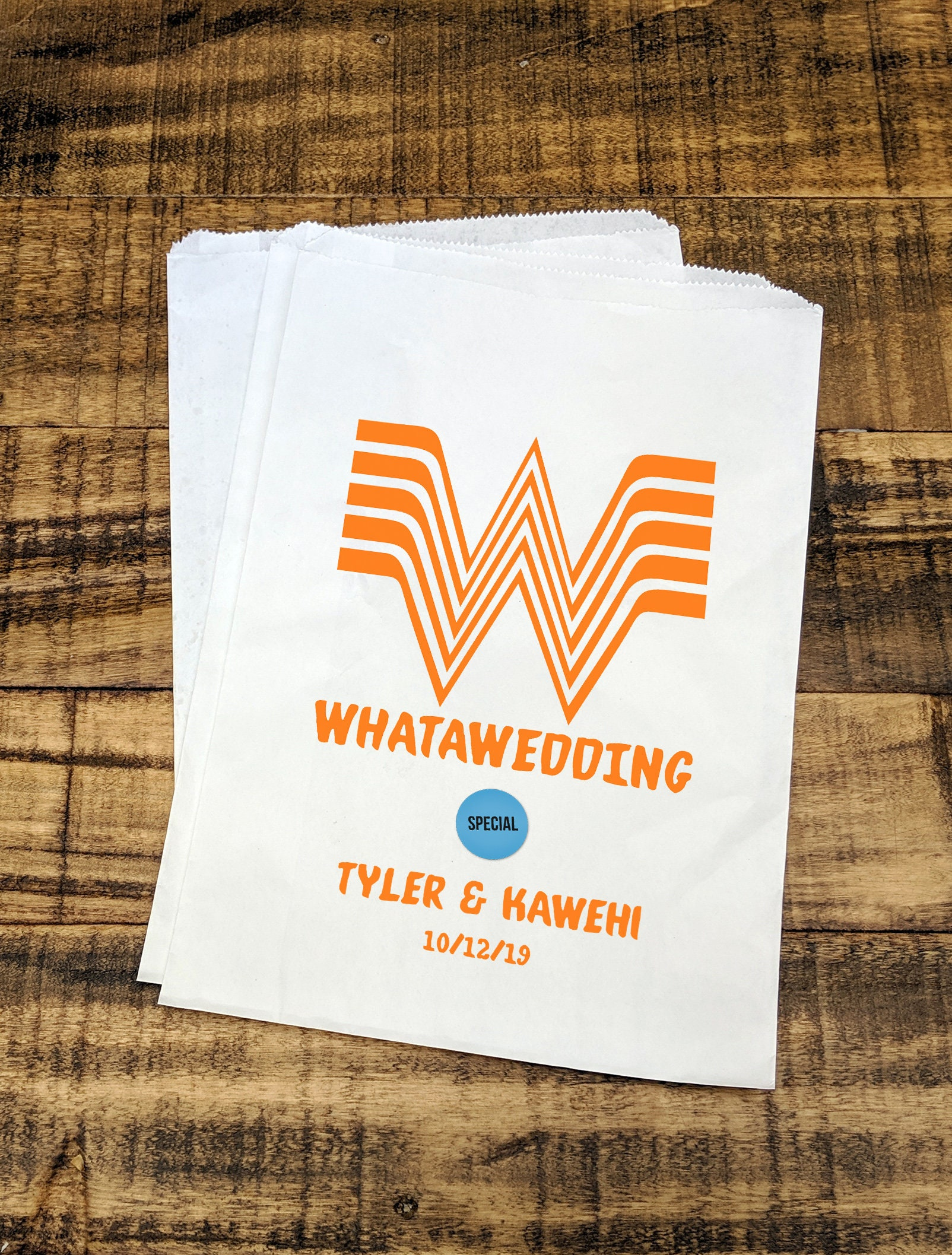 Whatawedding Bag, Whataburger, Fun Wedding Idea, Texas Wedding, Casual wedding, Wedding Treat Bags, Wedding Favor Bags, DIY Weddings