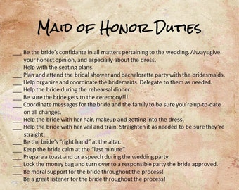 Maid Of Honor Duties Etsy
