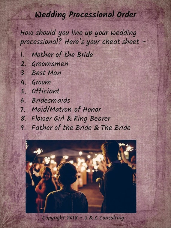 Wedding Processional Order of the Wedding Party Wedding Planning Printables