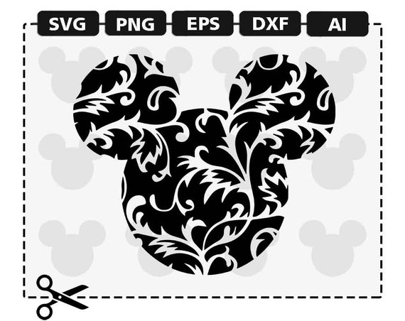 SVG Disney Mickey Mouse Ears Swirl Swirly Ornamental Fancy Flower Pattern  Minnie Svg png eps dxf format download digital cut clipart cricut