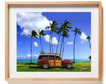 Woodie Car with a Surfboard on it Sitting by the Beach Canvas Art 24x36 inches