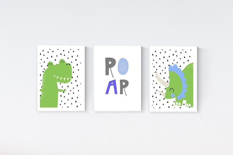 4 Cute Modern Trex Dinosaur Prints Dinos Rule Nursery Baby Boy Wall Art Pictures