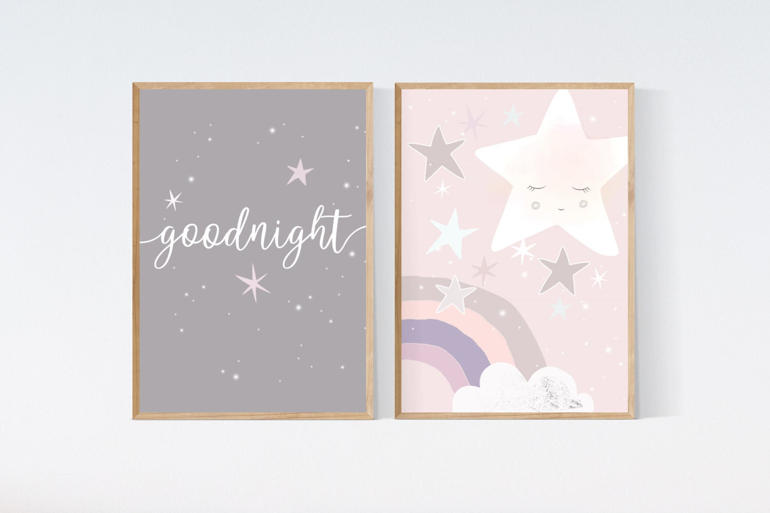 3 Cute Prints Kawaii Moon Cloud Goodnight Nursery Wall Art Baby Decor Pictures