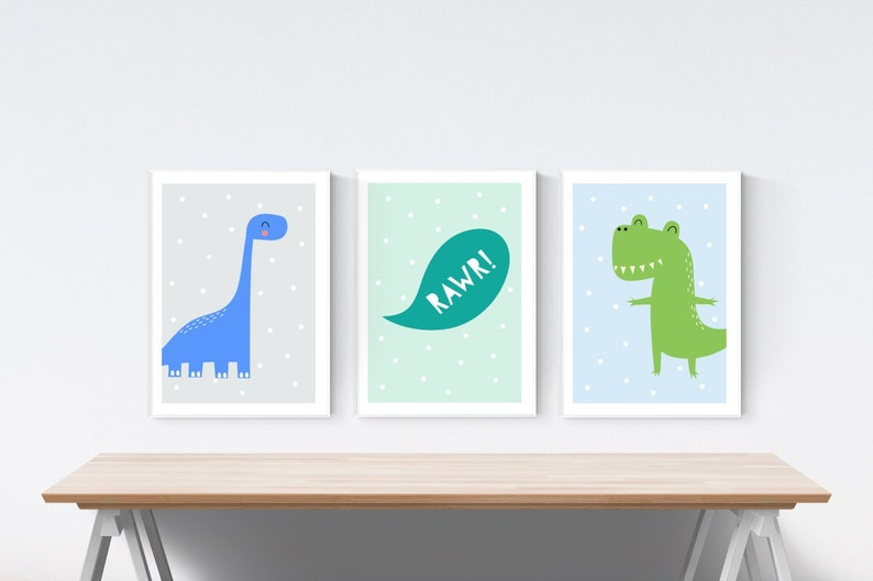 3 Modern Dinosaur Prints Dinos Nursery Wall Art Wooden Decor Pictures