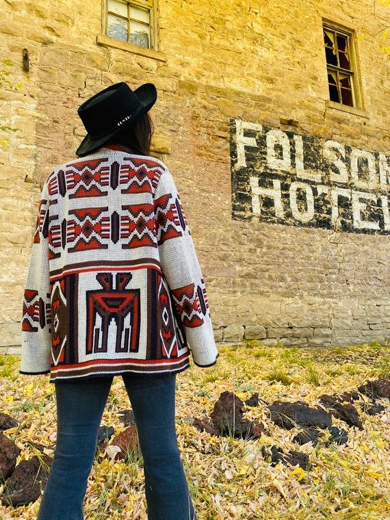 1970s Bright Southwestern Wrap Sweater
