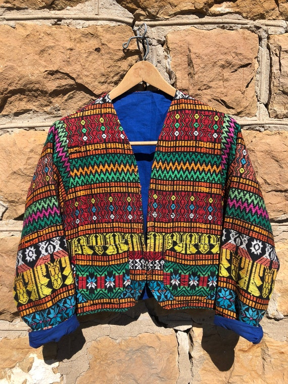 Rainbow Embroidered Cropped Jacket