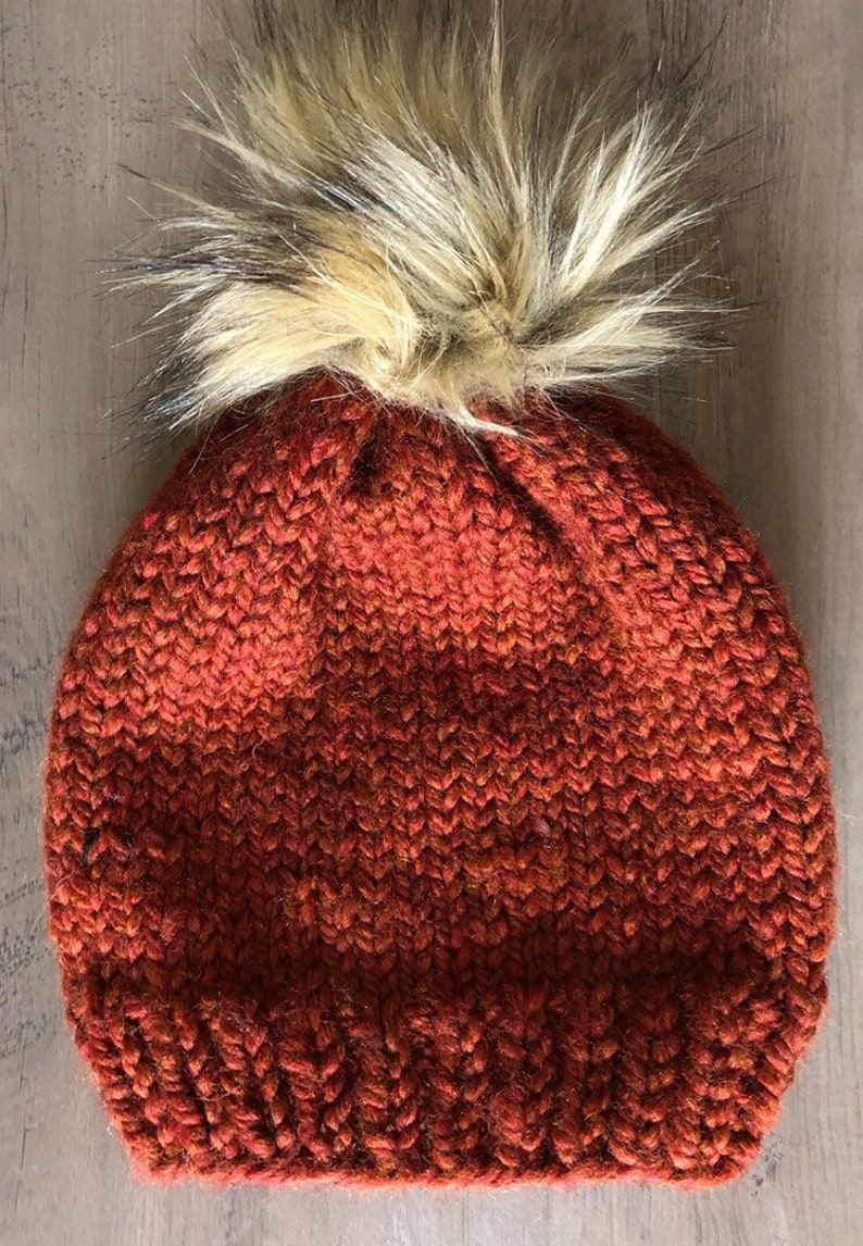 6afea7099 Chunky Knit Hat with Faux Fur Pom. Multiple colors available.