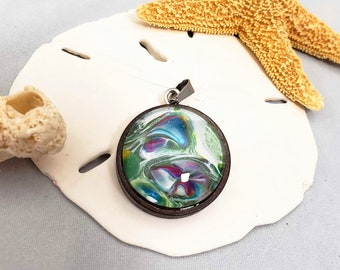 Acrylic pour Art Wood Pendant with Feathers and charms