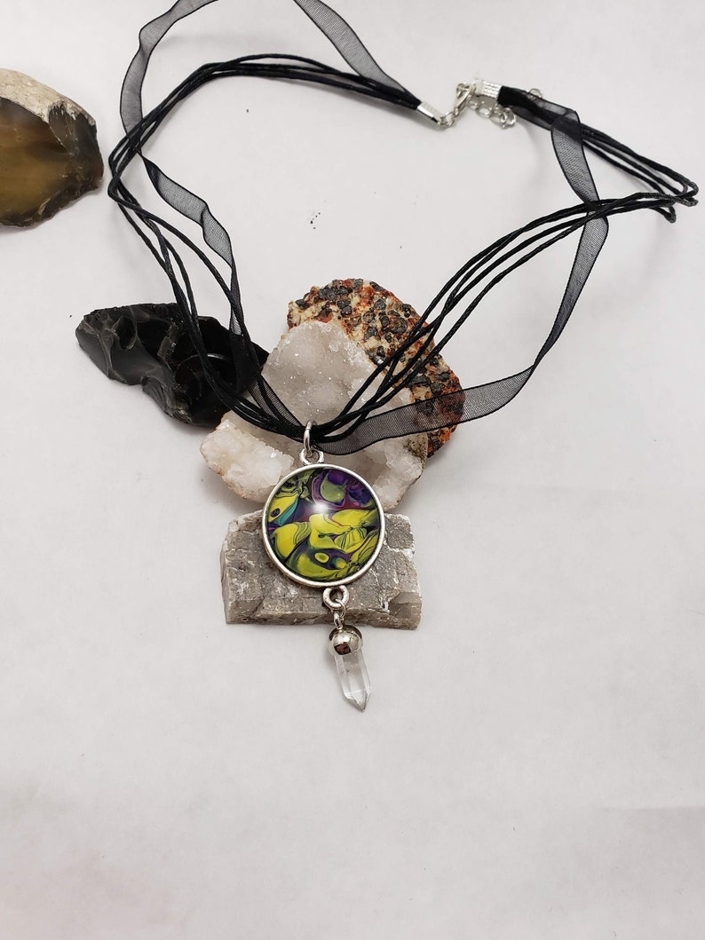 Acrylic pour necklace pendant and crystal Wearable art