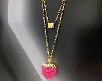 Sparkly Druzy Jewelry Step Mom Mothers Day Gift Funky Necklace Pink Statement Necklace Bold Necklace Bright Pink Druzy