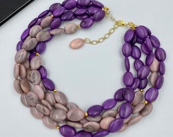 Triple Strand Beaded Jewelry eggplant jewelry Purple /& Yellow Chunky Statement Necklace Minnesota bridesmaid purple yellow wedding