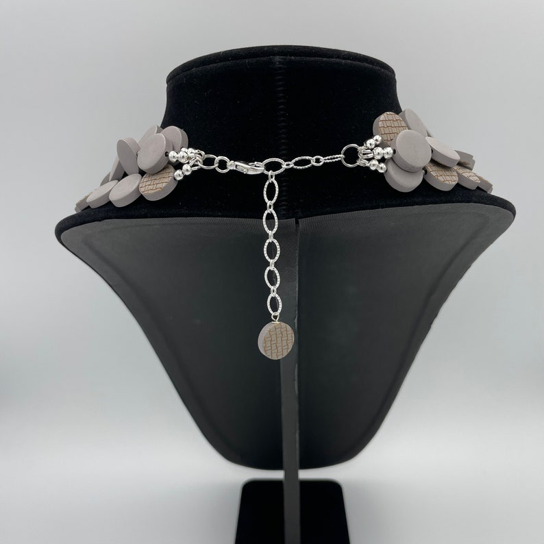 Wood Layered Necklace Wood Gray Bead Necklace Multi Strand Statement Gray Necklace Engraved Gray Necklace Painted Wood Statement Necklace