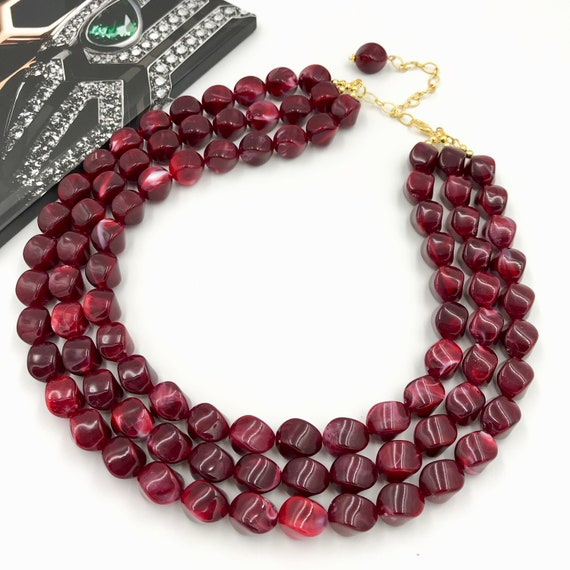 Fall Chunky Necklace Halloween Maroon Wizard Chunky Necklace Red and Yellow Necklace Maroon and Gold Chunky necklace