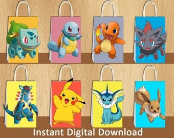 Pokemon FAVOR BAGS Birthday Party Supplies Goodie Bags Candy Treat Goody Gift